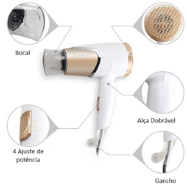 Secador  Dobrável de Cabelo Km-6832 para viagem 127V + Kit Salon Beauty Liso Sempre Shampoo e Condicionador 1L