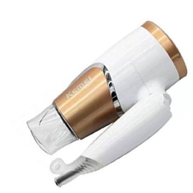 Secador  Dobrável de Cabelo Km-6832 para viagem 127V + Kit Salon Beauty Tratamento de Choque Shampoo e Cond 1L
