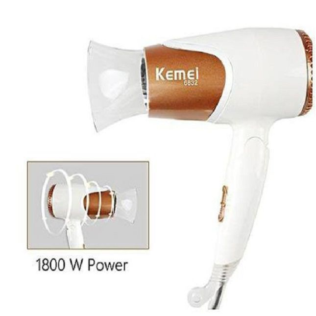 Secador Km-6832 Cabelo Dobrável de para viagem 127V + Kit Salon Beauty Liso Sempre Shampoo e Condicionador 1L