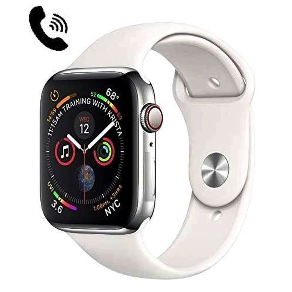 Smartwatch Iwo 8 44mm Serie 4 Notificações Bluetooth Monitor Cardíaco - Prata