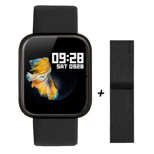 Smartwatch Modelo P70 Masculino e Feminino  com pulseira em metal e silicone Preta