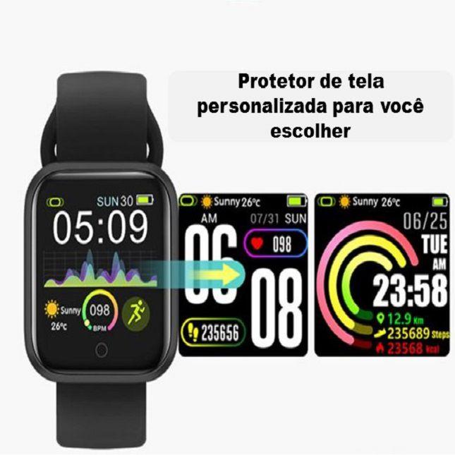 Smartwatch RBQW21 Saúde Esportes Redes Sociais Preto