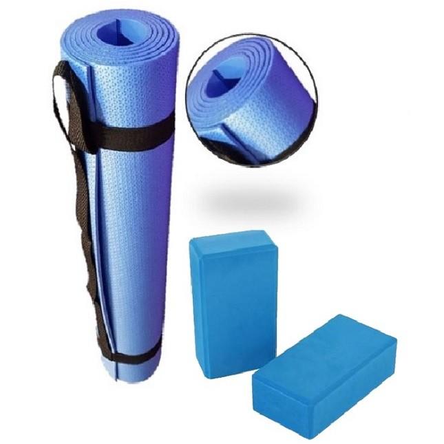 Tapete Colchonete Bloquinho de Ginástica Yoga Pilates Azul
