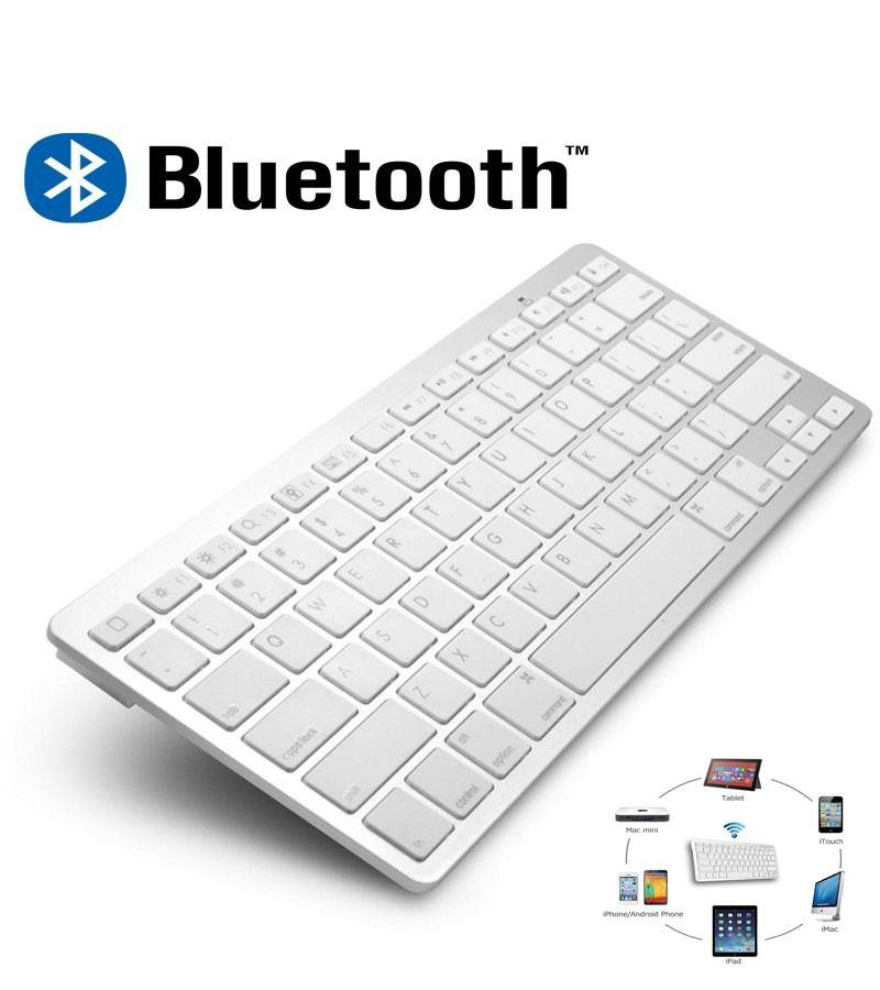 Teclado Bluetooth para Pc Tablet e Smartphone sem fio Branco