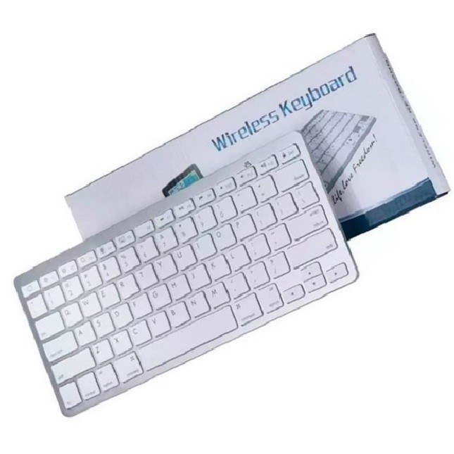 Teclado Bluetooth sem fio para Pc Tablet Smartphone Branco