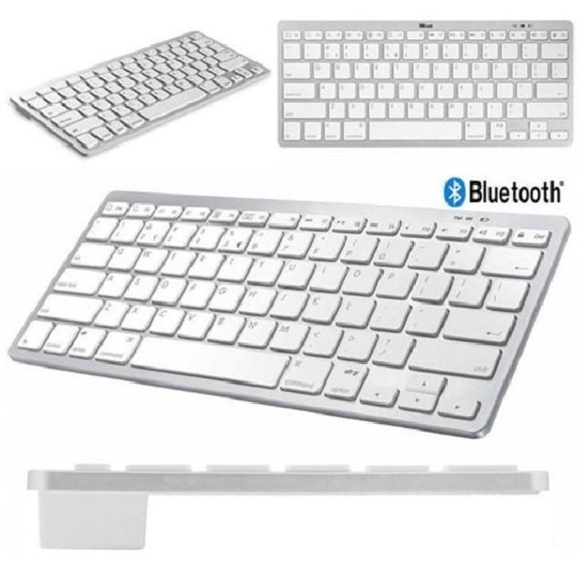 Teclado Bluetooth Slim para Pc Tablet Smartphone Branco