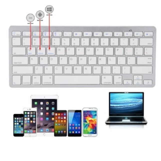 Teclado Bluetooth Ultra Slim Tablet PC Celular Notebook Bco