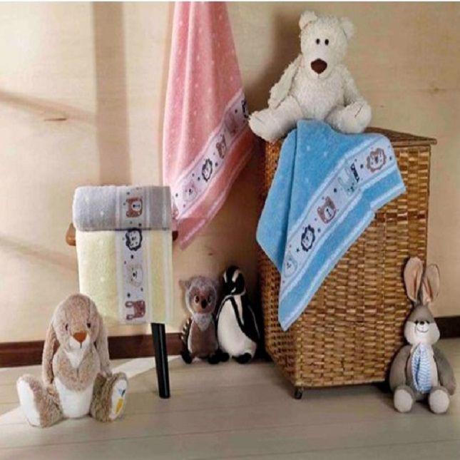 Toalha De Banho Infantil menina Rosa Kit com 2  Dianneli