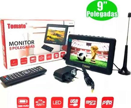 Tv Digital Portátil Monitor 9 Polegadas Tomate