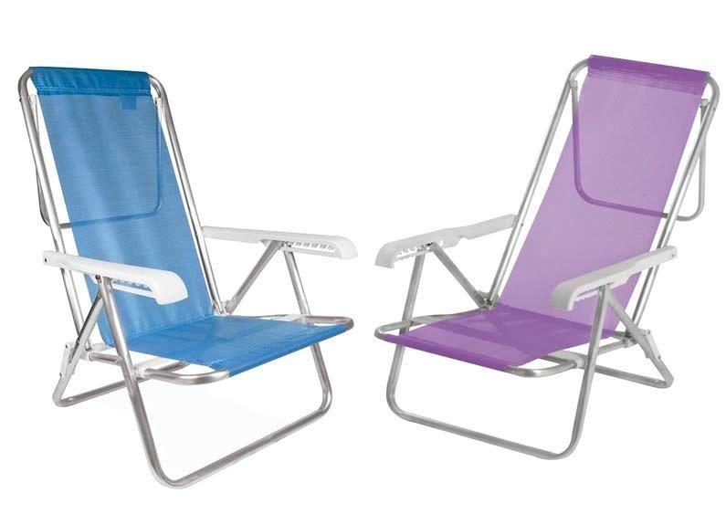 02 Cadeira De Praia Alumínio 8 Posições 1 Azul+1 Lilás