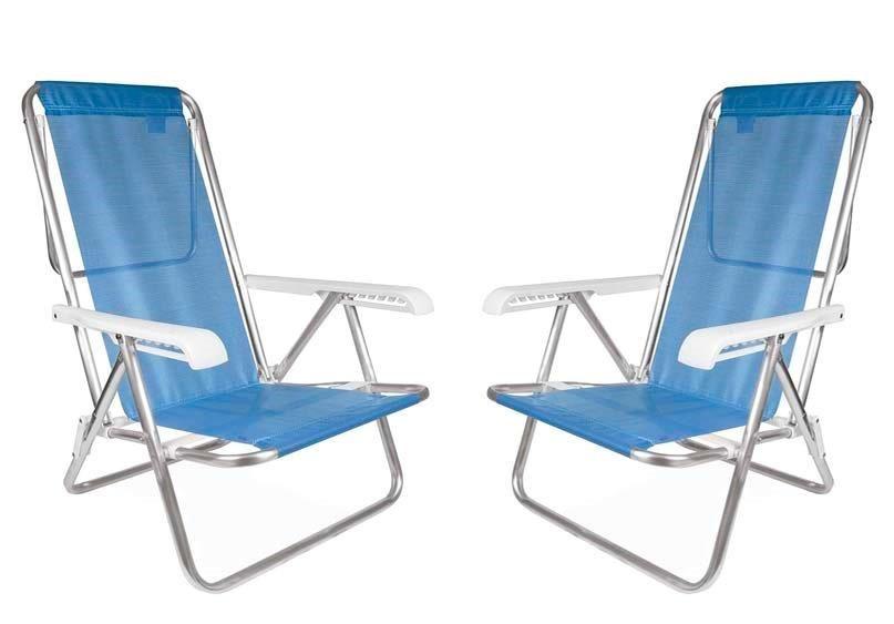 02 Cadeira De Praia Reclinável Alumínio 8 Posições Azul
