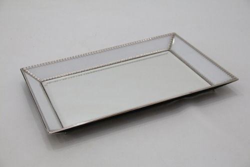 Bandeja Retangular Em Vidro Espelhado - M1113