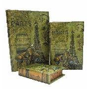 Caixa Livro Decorativa, Porta Objetos - Torre Eiffel- 3 Peça