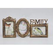 Porta Retrato Família Em Resina 3 Fotos