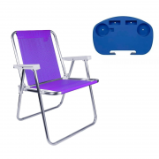 1 Cadeira Alta Alumínio Lilás + 1 Mesinha Portátil