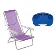 1 Cadeira reclinável  8 Posições Alumínio Lilás  + 1 Mesinha - Mor
