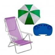 1 Mesinha +1 Cadeira 8 Posições +1 Guarda sol  Verde 1,80m