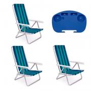 3 Cadeira reclinável 8 Posições Alumínio + 1 Mesinha - Mor