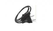 3 Rabichos Cordão conector injetado 180º c/ inter 1/2 fio de pressão Preto 3 peças
