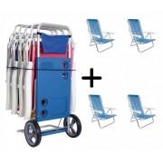Carrinho de Praia + 04 Cadeiras 8 Posições Azul -  Mor