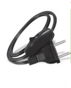 Rabicho Cordão conector injetado 180º c/ inter 1/2 fio de pressão Preto 3 peças