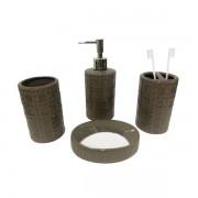Kit Banheiro Acessórios Para Lavabo Marrom 4 Peças - L1222M