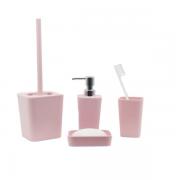 Kit Banheiro com Acessórios p/ Lavabo c/ Porta Sabonete Líquido 4 Peça