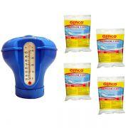 Kit Dosador Flutuante Termômetro c/ 4 pastilha Genco 200g