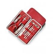 Kit Manicure e Pedicure em aço inoxidável 12 peças com um lindo estojo vermelho Design moderno