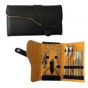 Kit Manicure e Pedicure em aço inoxidável 15 peças com um lindo estojo Preto Design moderno
