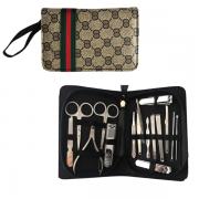 Kit Manicure e Pedicure em aço inoxidável 16 peças com um lindo estojo Com Zíper Design moderno