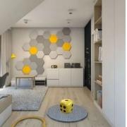 Puff Cerâmico Banqueta Decorativo Para Jardins Sala varanda Formato Dado Moderno na cor Amarelo