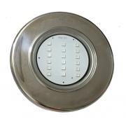 "Refletor Steel Led SMD 30 Monocromático Branco Inox Com Rosca 1/2"" - Pooltec"