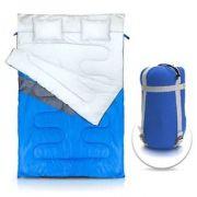 Saco de dormir duplo P/casal de temp -5°C a 5°C c 2 travesseiros Kuple Azul