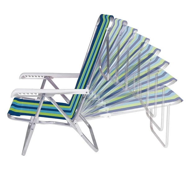 1 Cadeira reclinável 8 Posições Alumínio + 1 Mesinha - Mor