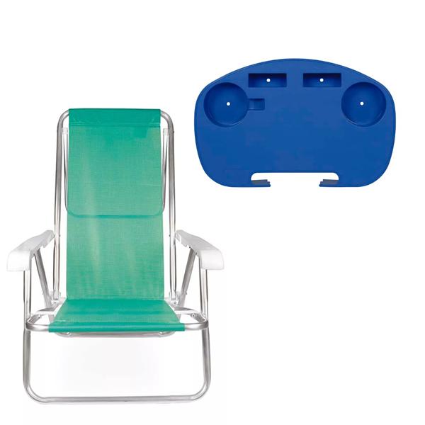 1 Cadeira reclinável  8 Posições Alumínio Anis  + 1 Mesinha - Mor