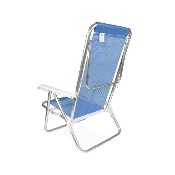1 Cadeira reclinável  8 Posições Alumínio Azul  + 1 Mesinha - Mor