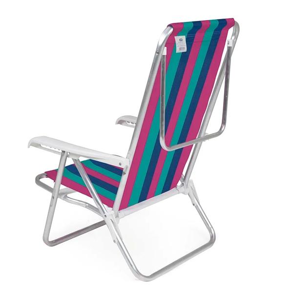 1 Cadeira reclinável 8 Posições Alumínio Rosa + 1 Mesinha - Mor