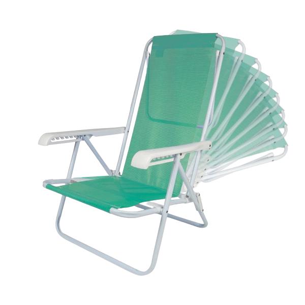 1 Cadeira Reclinável 8 Posições em Aço Anis + 1 Mesinha