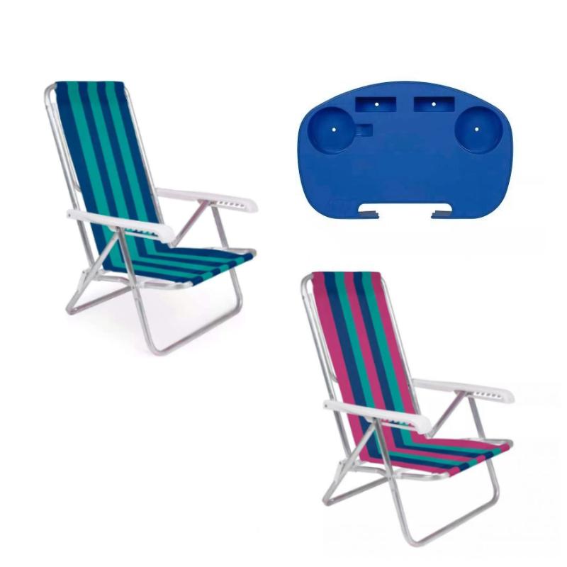 1 Cadeira Rosa + 1 Cadeira Verde 8 Posições  + 1 Mesinha - Mor