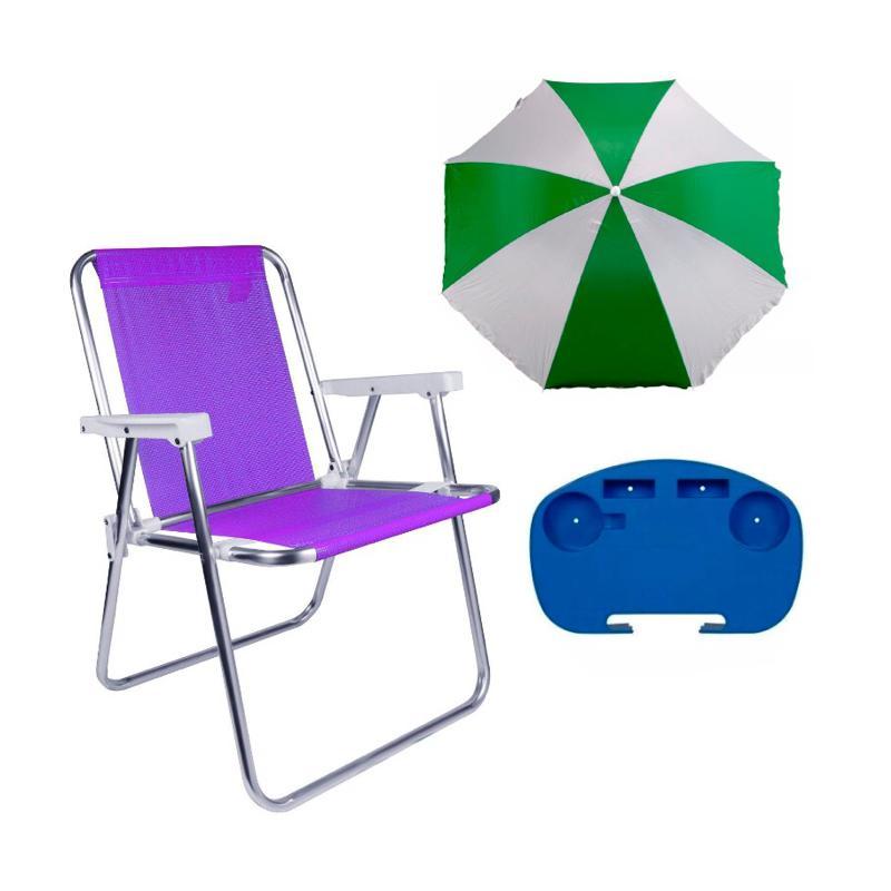1Guarda Sol Verde + 1Mesa P/ Cadeira + 1Cadeira Alta Lilas