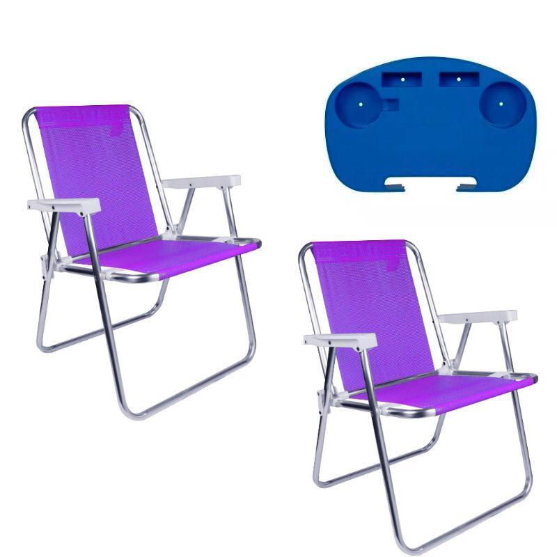 2 Cadeira Alta Alumínio Lilás + 1 Mesinha Portátil