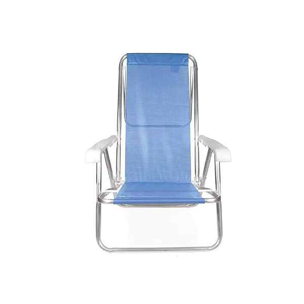2 Cadeira reclinável  8 Posições Alumínio Azul  + 2 Mesinha - Mor