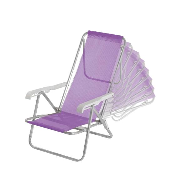 2 Cadeira reclinável  8 Posições Alumínio Lilás  + 1 Mesinha - Mor