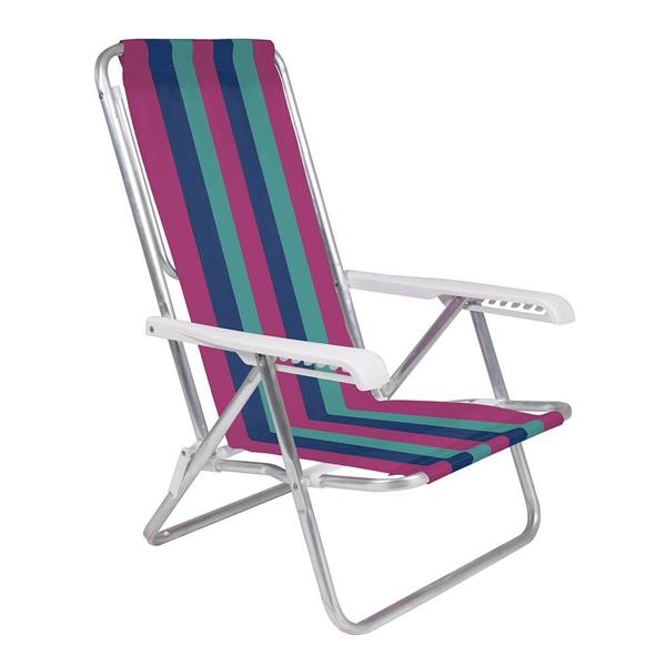 2 Cadeira Reclinável 8 Posições Rosa + 1 Mesinha Portátil - Mor