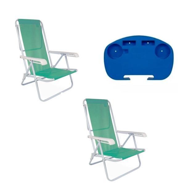 2 Cadeiras Reclinável  8 Posições em Aço Anis + 1 Mesinha