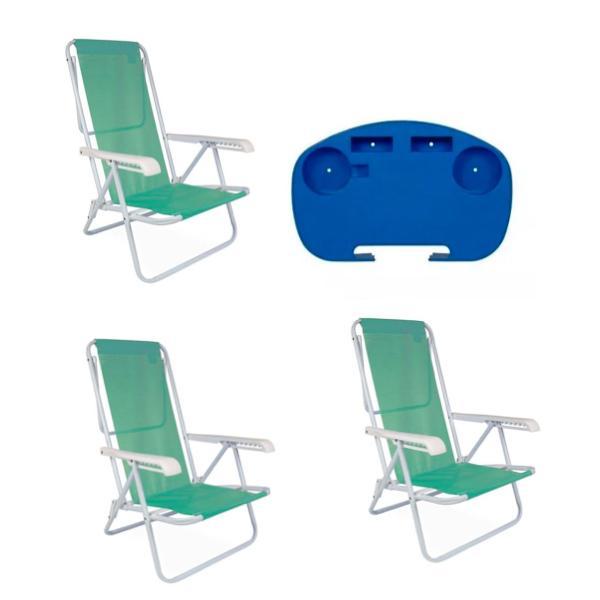 3 Cadeira Reclinável  8 Posições Aço  Anis + 1 Mesinha