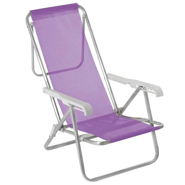 3 Cadeira reclinável 8 Posições Alumínio Lilás + 1 Mesinha - Mor