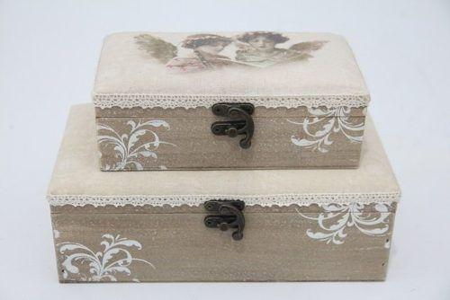 Caixa Porta Joia Decorativa Em Madeira 2 Unid 8x15 - S871