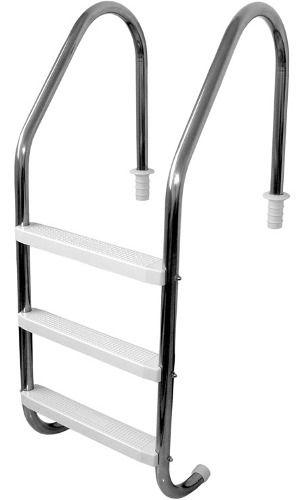 Escada Tradicional 2´´ Em Aço Inox 3 Degraus Em Plástico